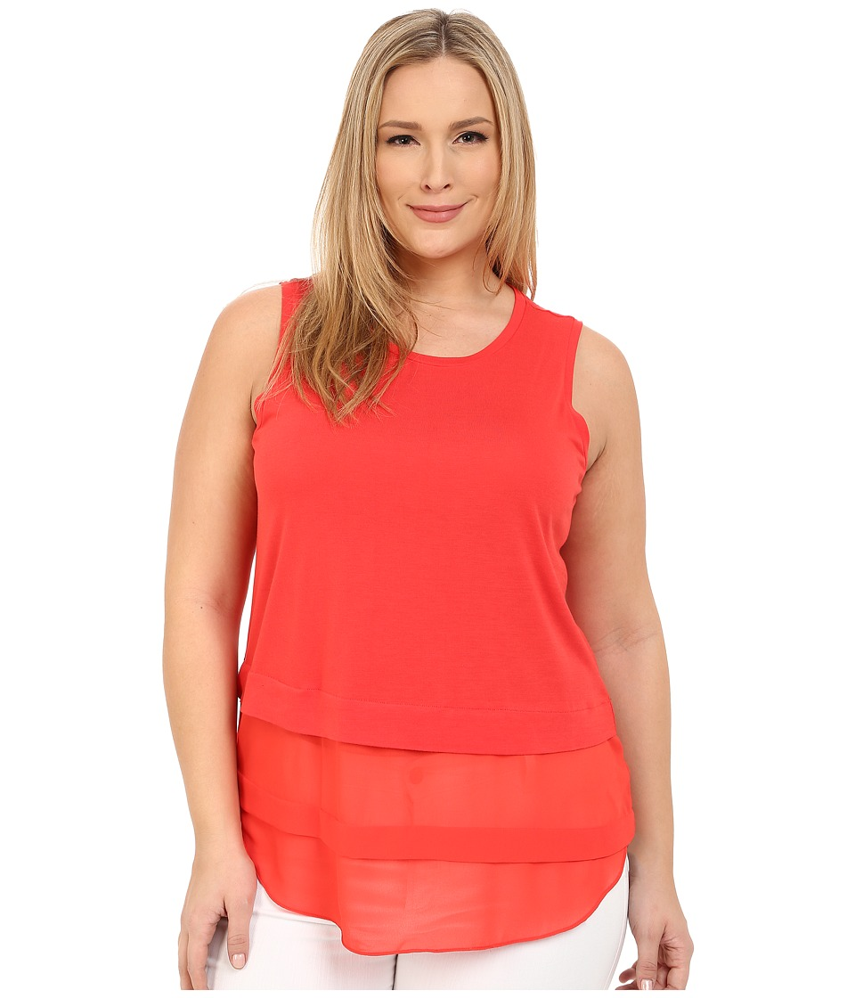 MICHAEL Michael Kors - Plus Size Sleeveless Crew Woven Mix Top (Coral Reef) Women's Sleeveless