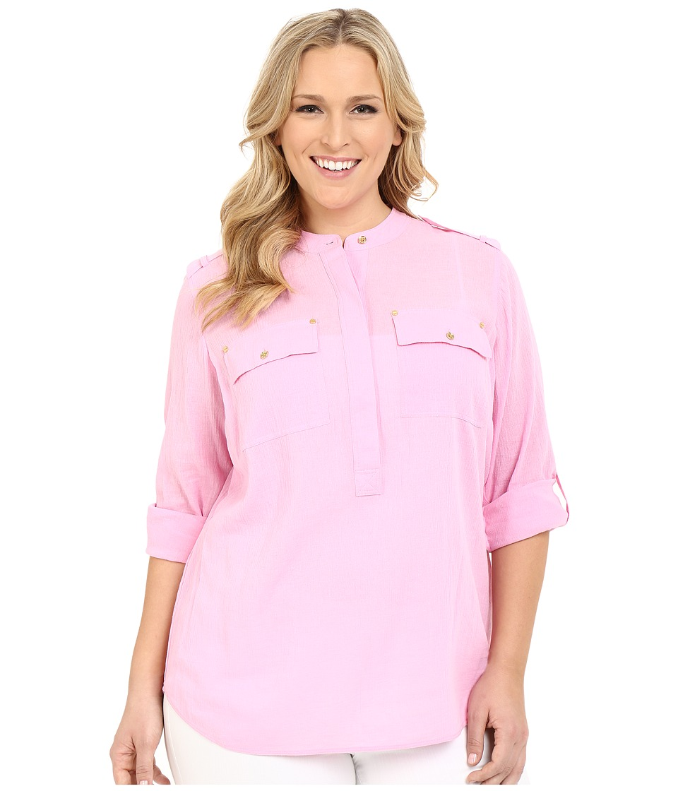 MICHAEL Michael Kors - Plus Size Long Sleeve Top/Collarless (Pale Plum Blossom) Women's Blouse