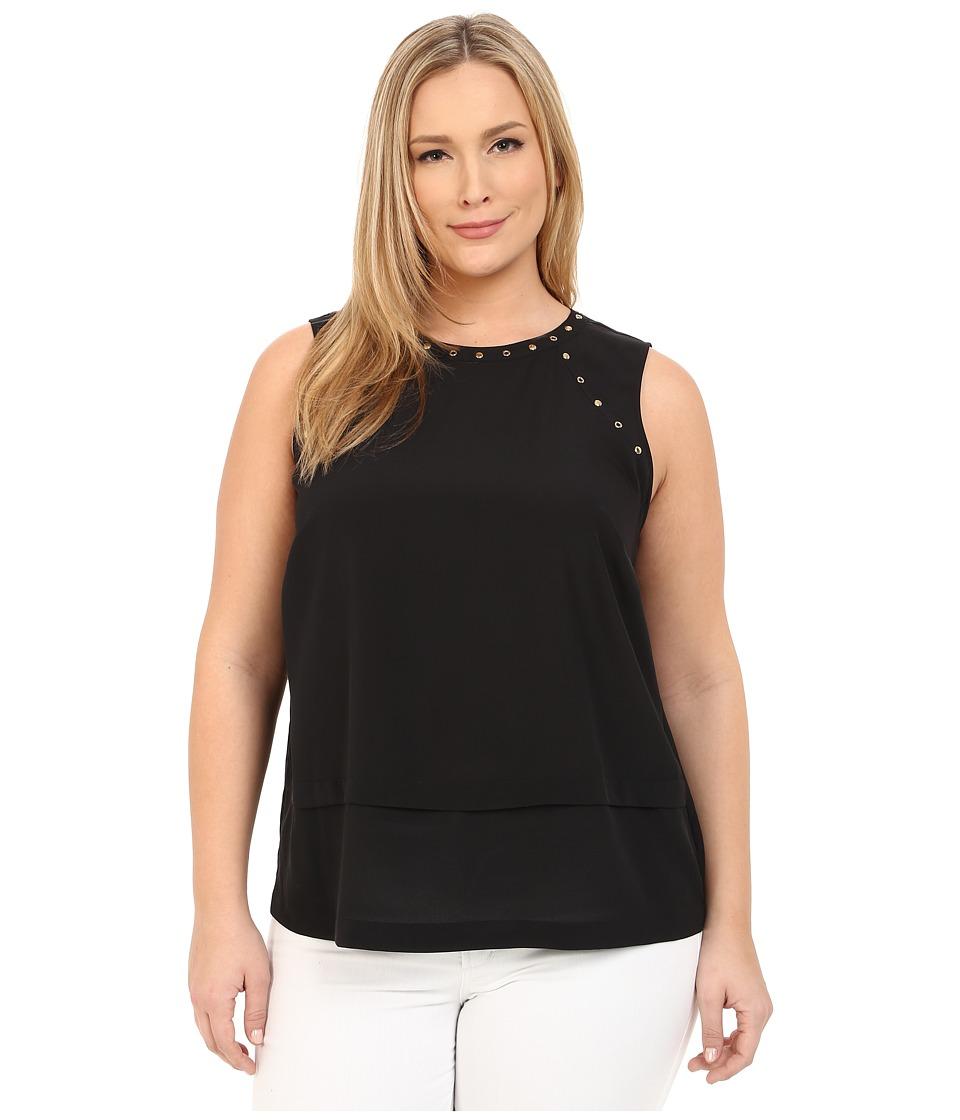 MICHAEL Michael Kors - Plus Size Studded Top (Black) Women's Blouse