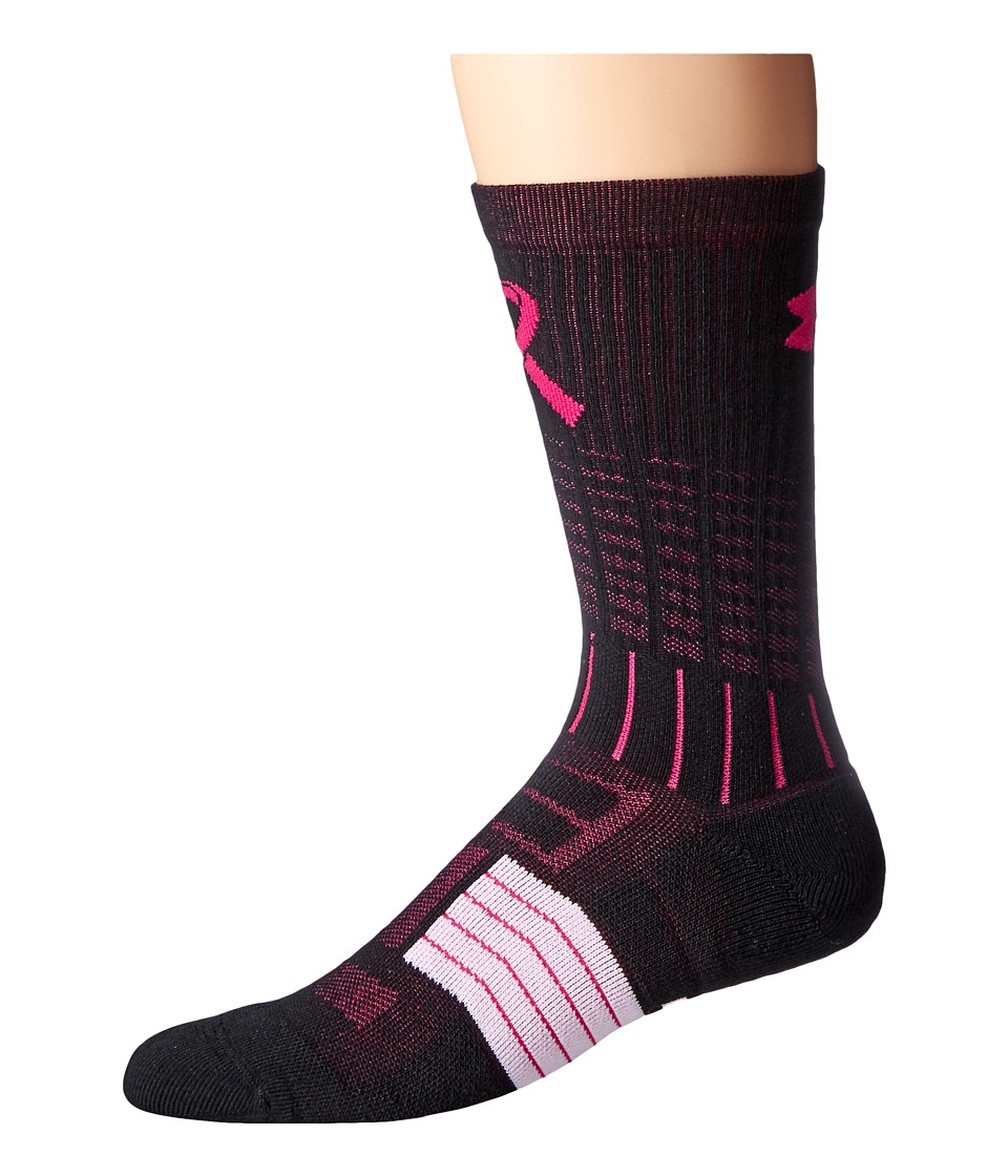 Under Armour - UA Unrivaled Power in Pink(r) Crew (Black/Tropic Pink) Men's Crew Cut Socks Shoes