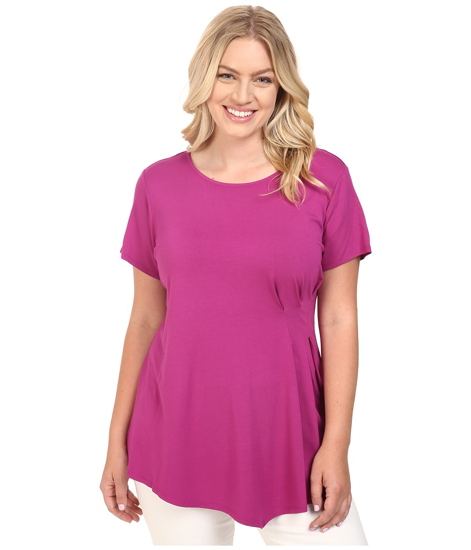 Vince Camuto Specialty Size - Plus Size Short Sleeve Side Pleat Top (Plum Tart) Women's Clothing