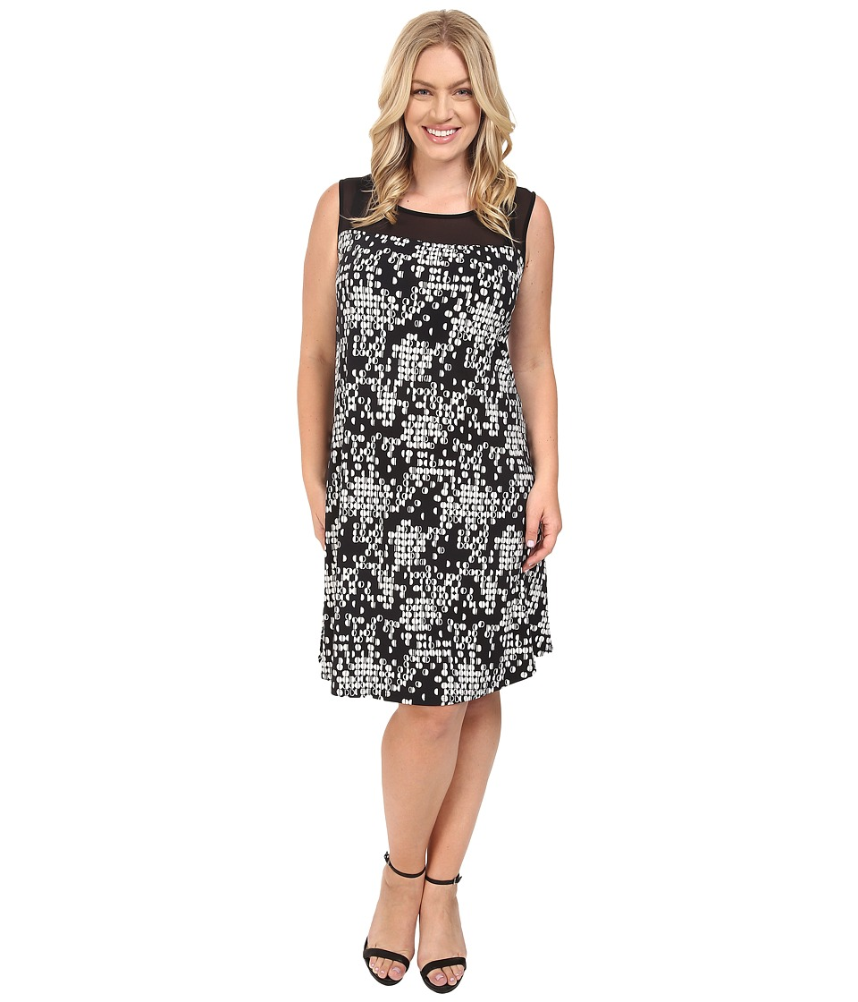 Vince Camuto Specialty Size - Plus Size Sleeveless Dotted Cityscape Dress with Chiffon Yoke (Rich Black) Women's Dress