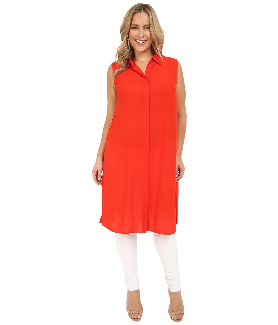 Vince Camuto Specialty Size - Plus Size Sleeveless Collard Tunic with Side Slits (Fiery Red) Women's Clothing