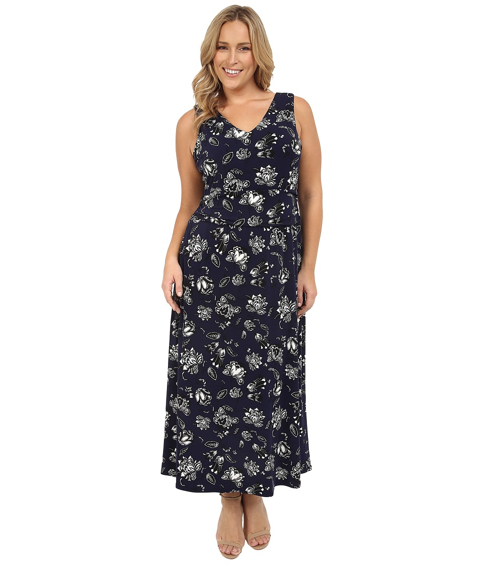 Vince Camuto Specialty Size - Plus Size Wood Block Floral V-Neck Maxi Dress (Evening Navy) Women's Dress