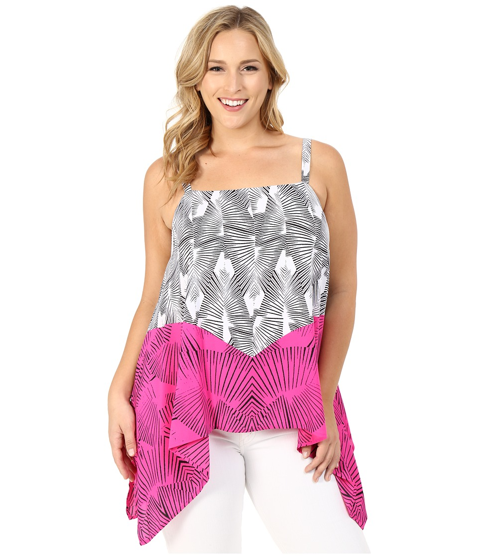 Vince Camuto Plus - Plus Size Graphic Stripe Fan Drape Panel Tank Top (Pop Pink) Women's Clothing