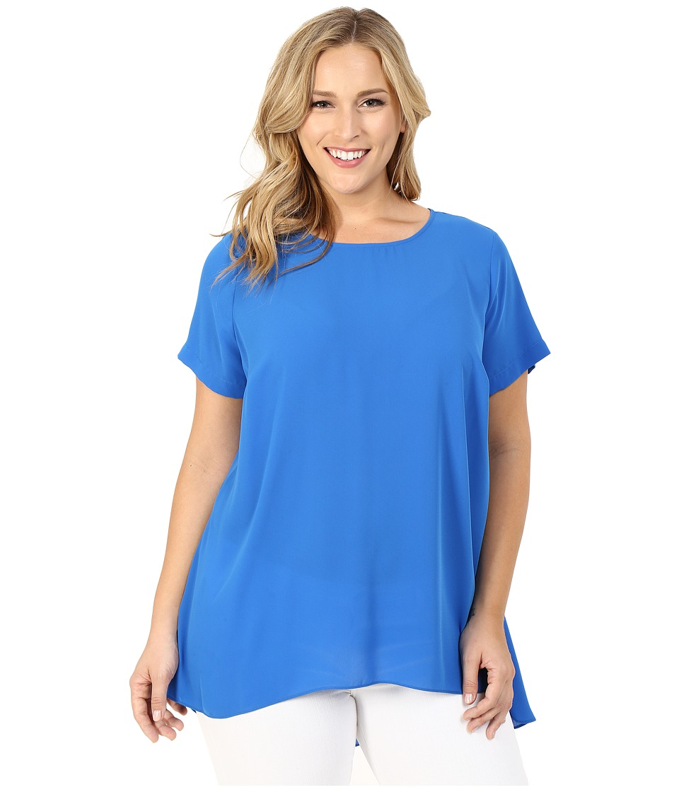 Vince Camuto Specialty Size - Plus Size Short Sleeve High-Low Hem Blouse (Poolside) Women's Blouse