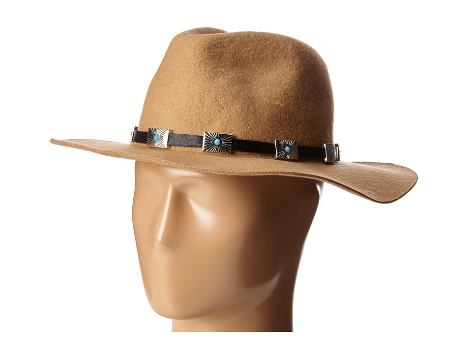 Steve Madden - Wide Brim Fedora with Santa Fe Band (Camel) Fedora Hats