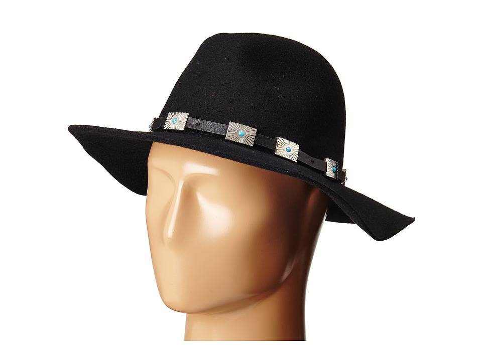 Steve Madden - Wide Brim Fedora with Santa Fe Band (Black) Fedora Hats