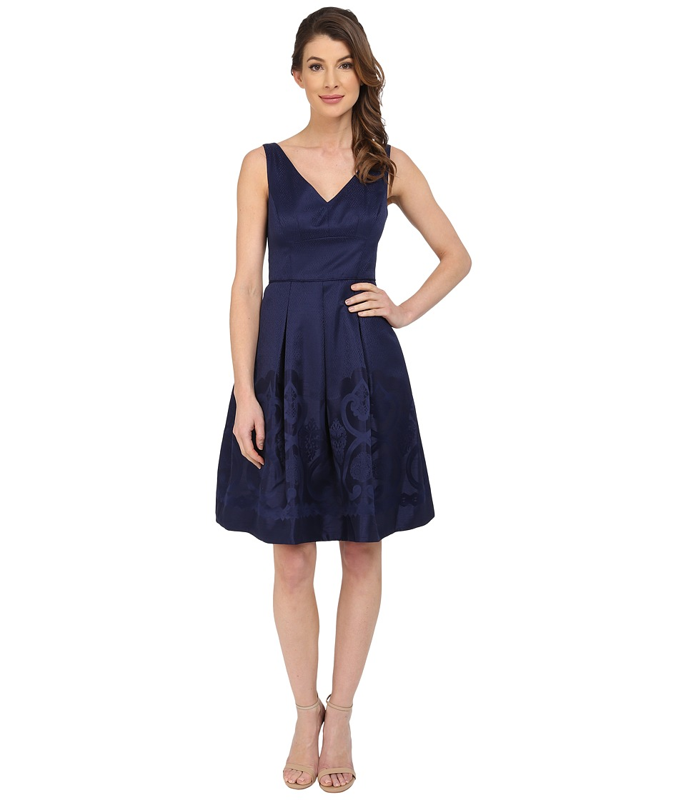 Maggy London - Scroll Border Jacquard Fit and Flare Dress (Galaxy Blue) Women's Dress