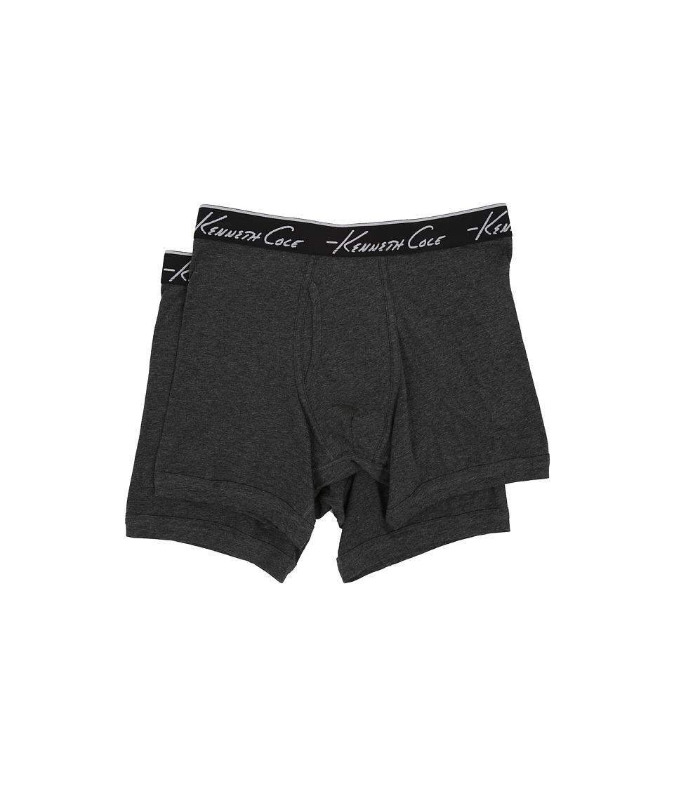 Kenneth Cole Reaction - Boxer Brief Super Fine Cotton - 2-Pack (Grey/Grey) Men's Underwear
