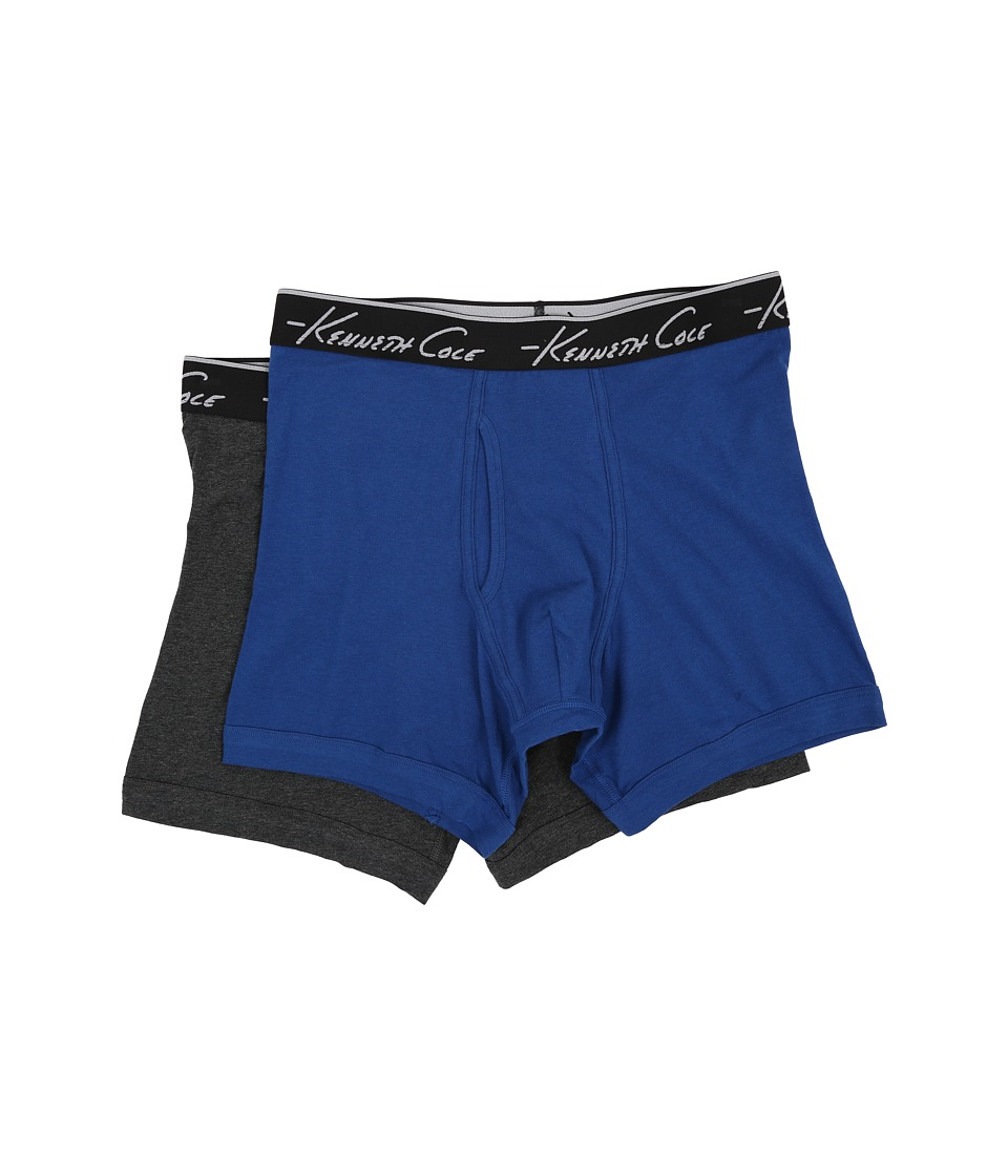 Kenneth Cole Reaction - Boxer Brief Super Fine Cotton - 2-Pack (Dark Blue/Light Heather Grey) Men's Underwear