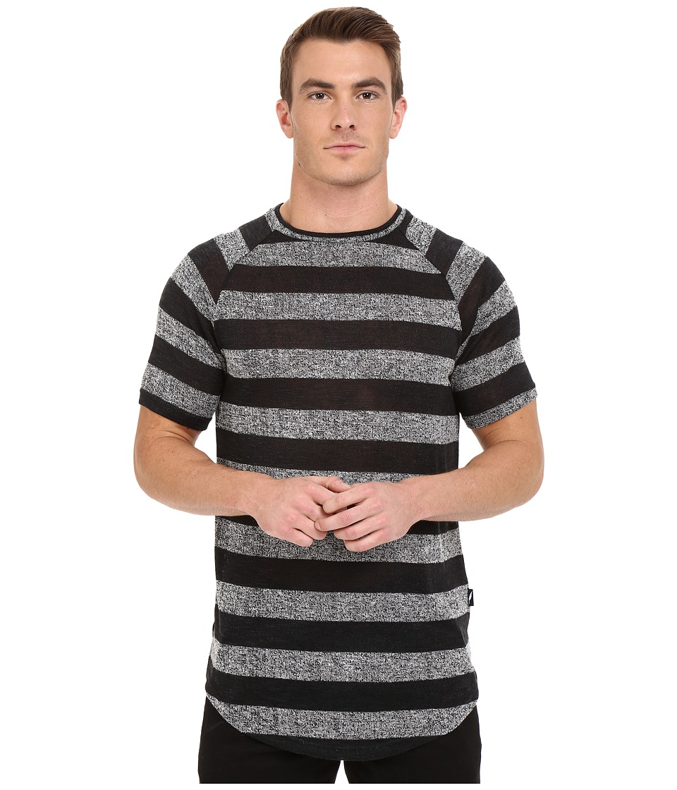 Publish - Rojan - Striped Loose Gauge Knit Short Sleeve Raglan (Black) Men's Clothing