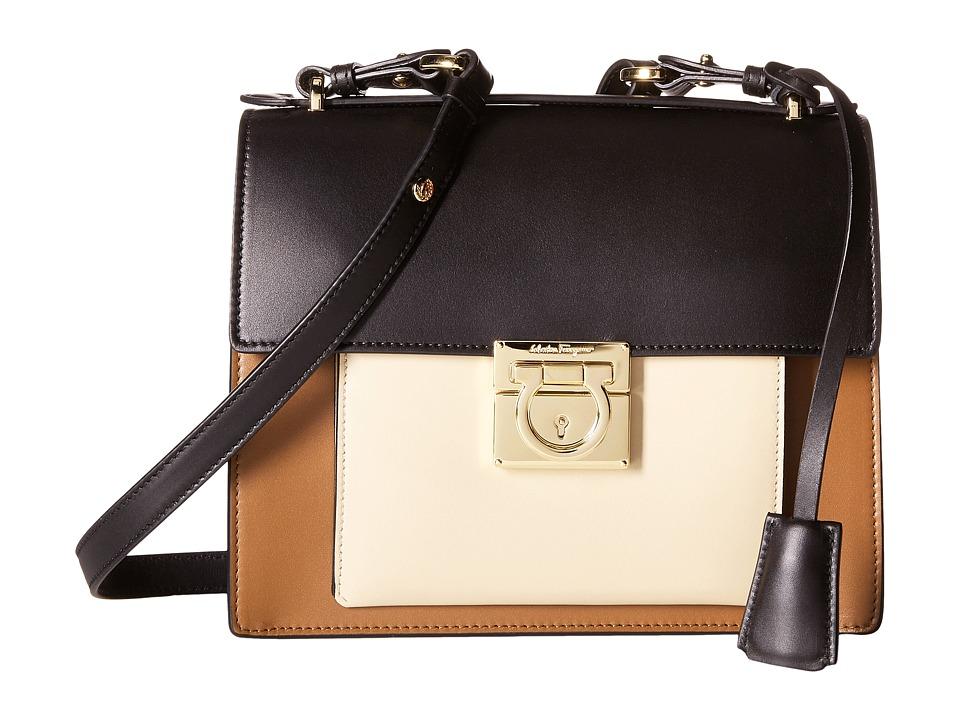 Salvatore Ferragamo - Marisol 21F564 (Ecorce/Nero/Macadamia) Satchel Handbags