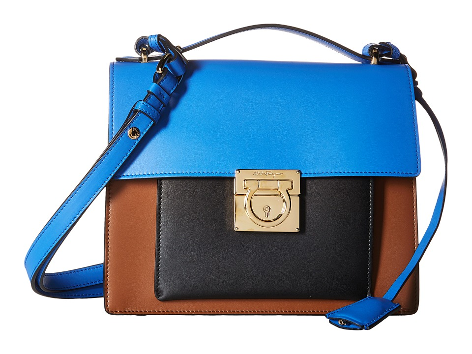 Salvatore Ferragamo - Marisol 21F564 (Ecorce/Blue Indien/Nero) Satchel Handbags