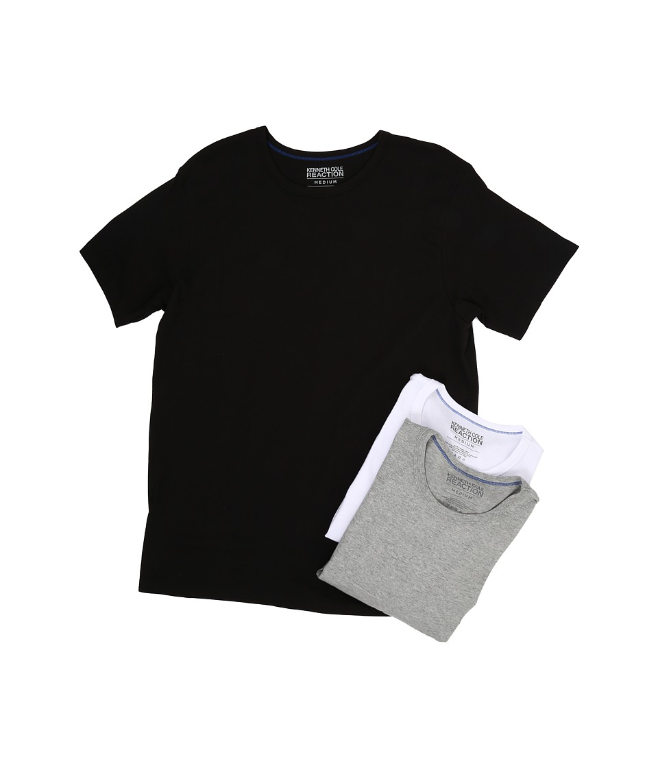 Kenneth Cole Reaction - 3-Pack Crew Neck Tee (Black/Grey Heather/White) Men's T Shirt