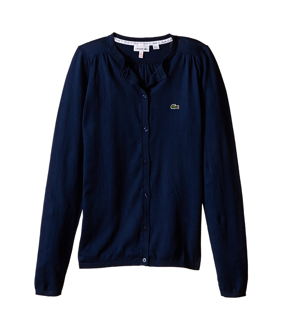 Lacoste Kids - Classic 100% Cotton Cardigan (Infant/Toddler/Little Kids/Big Kids) (Ship Blue) Girl's Sweater