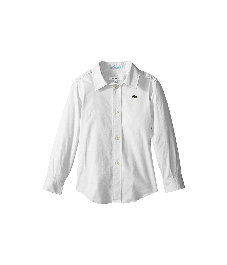 Lacoste Kids - Long Sleeve Oxford Woven Shirt (Little Kids/Big Kids) (White) Boy's Clothing