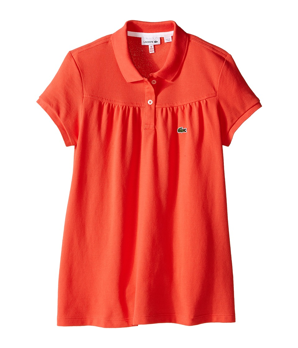 Lacoste Kids - S/S Classic Pique Polo (Toddler/Little Kids/Big Kids) (Sandalwood/White) Girl's Short Sleeve Pullover