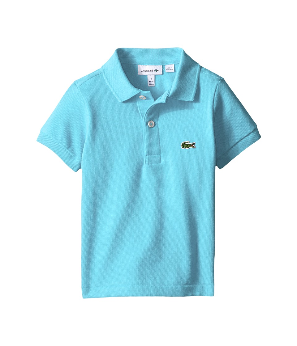 Lacoste Kids - Short Sleeve Classic Pique Polo Shirt (Toddler/Little Kids/Big Kids) (Azurine Blue) Boy's Short Sleeve Pullover