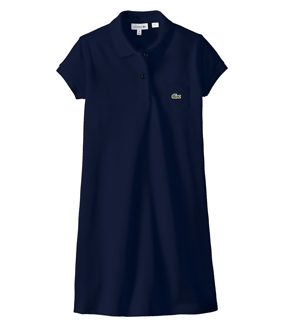 Lacoste Kids - Short Sleeve Classic Pique Polo Dress (Toddler/Little Kids/Big Kids) (Ship Blue) Girl's Dress