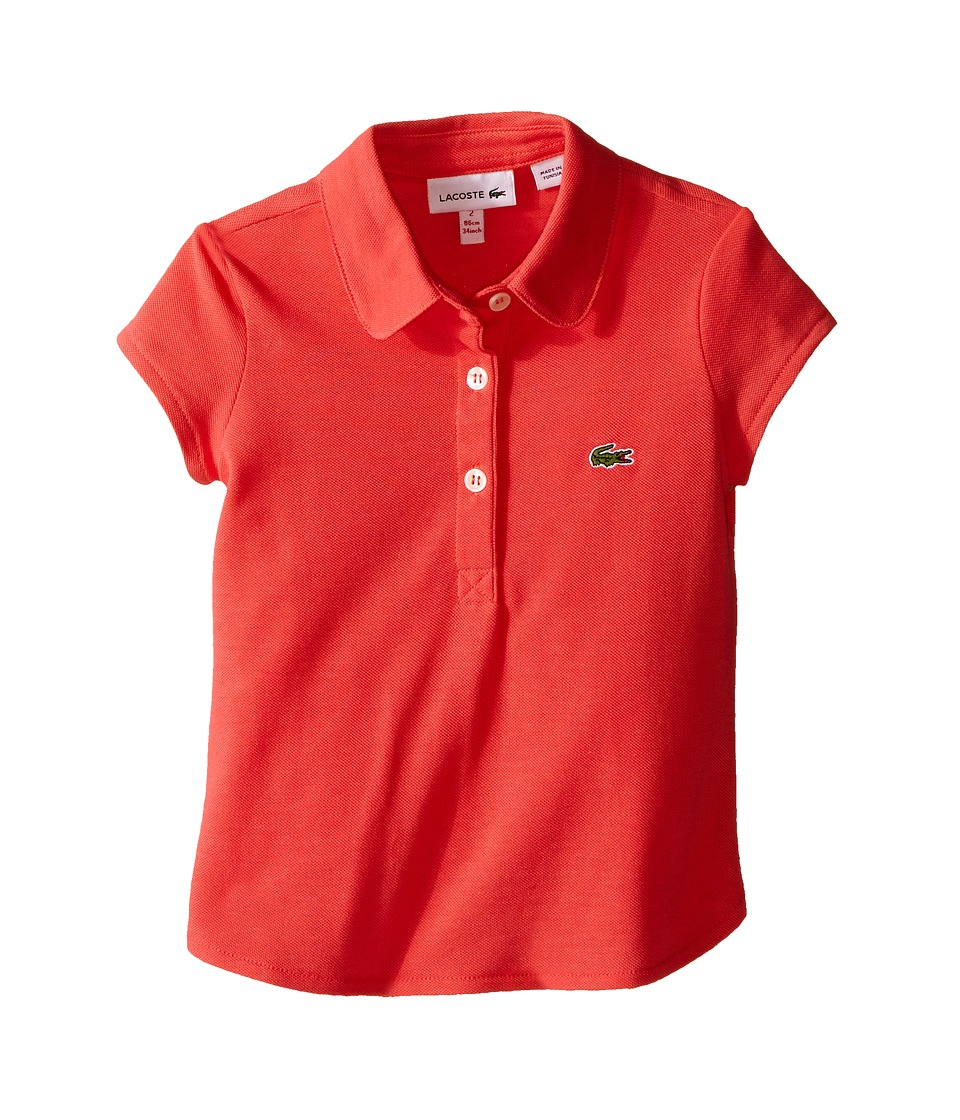 Lacoste Kids - Short Sleeve Fluid Pique Polo (Toddler/Little Kids/Big Kids) (Fusion Pink) Girl's Short Sleeve Pullover