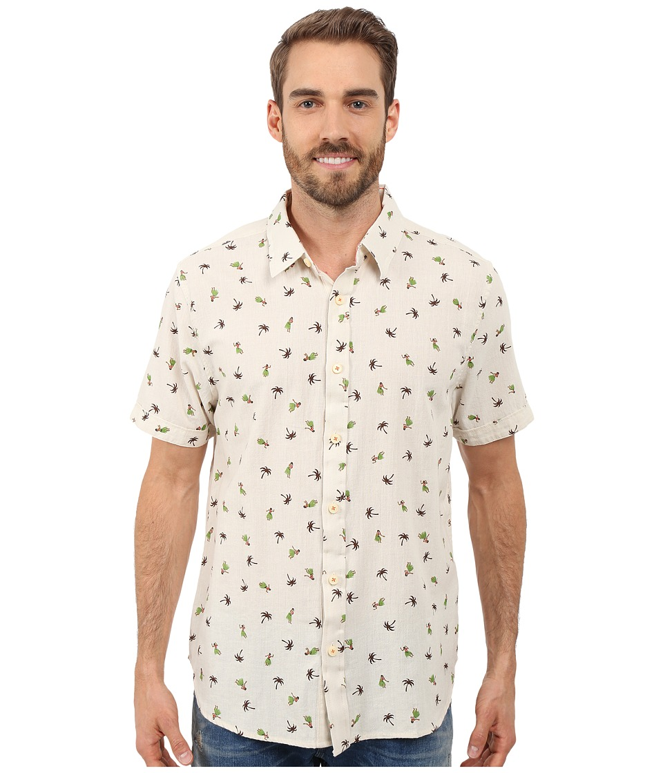 True Grit - Hula Girls Short Sleeve Linen Shirt Vintage Washed (Natural) Men's Short Sleeve Button Up