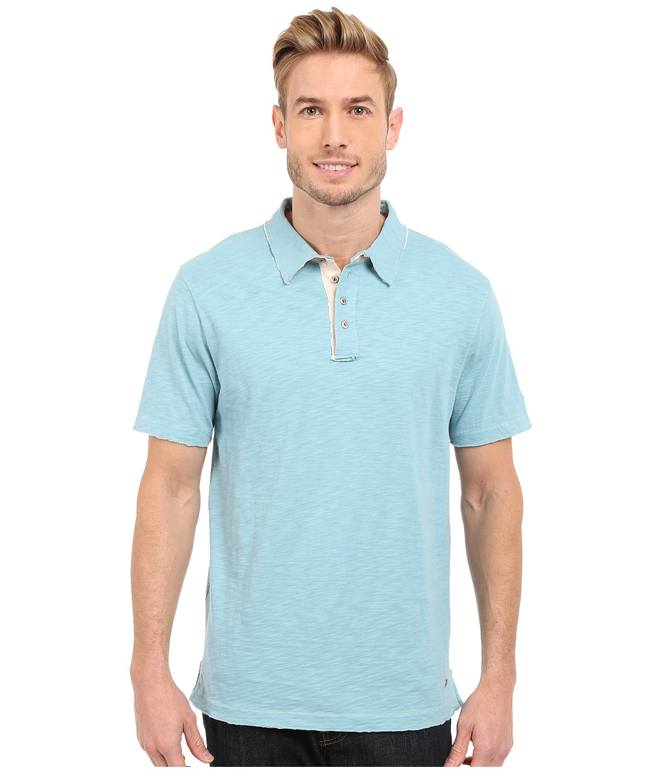 True Grit - Slub Jersey Short Sleeve Vintage Polo (Soft Blue) Men's Short Sleeve Pullover