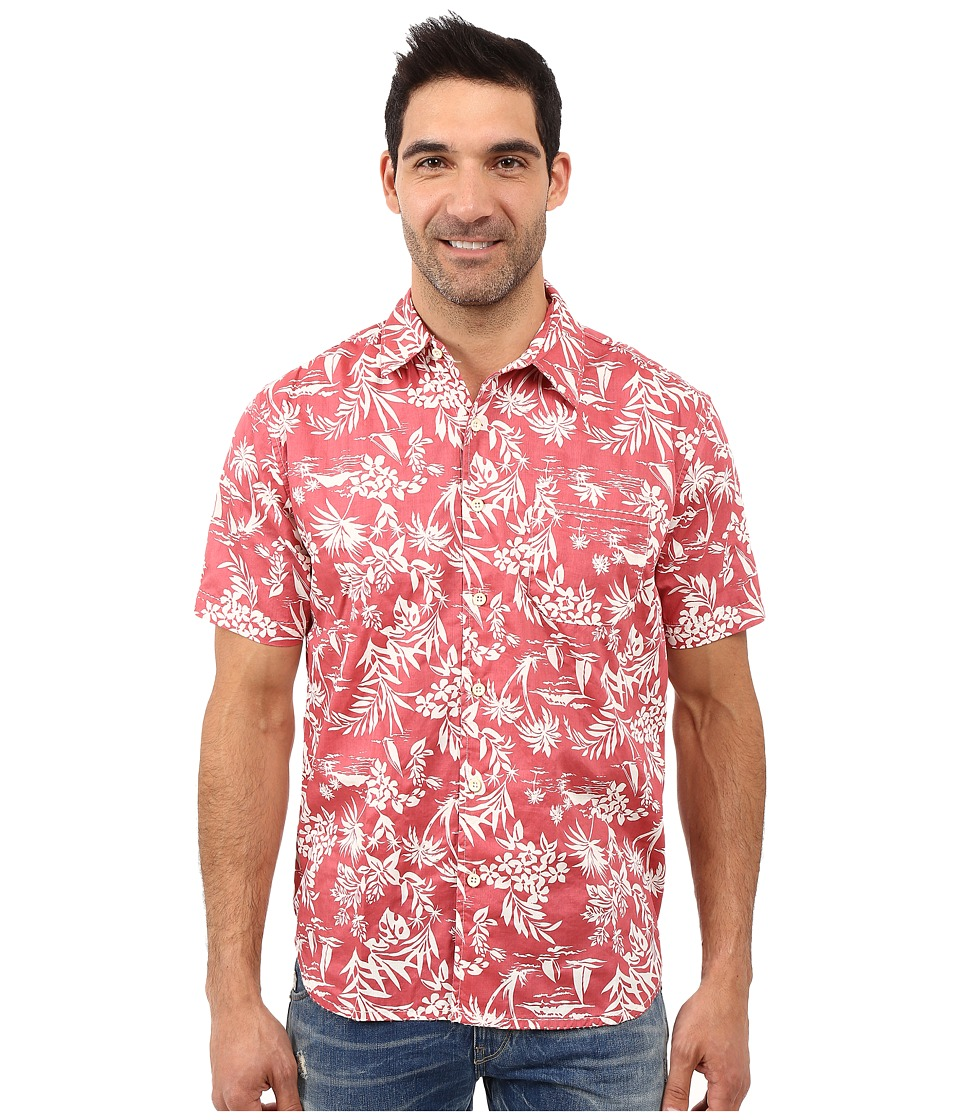 True Grit - Summertime Mai Tai Short Sleeve Shirt Combed Cotton w/ Stitch Detail (Vintage Red) Men's Clothing