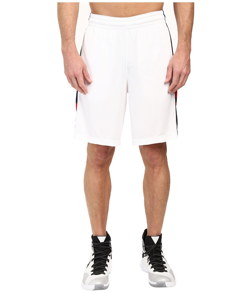 Nike - Elite Stripe Short (White/Obsidian/White/Metallic Silver) Men's Shorts