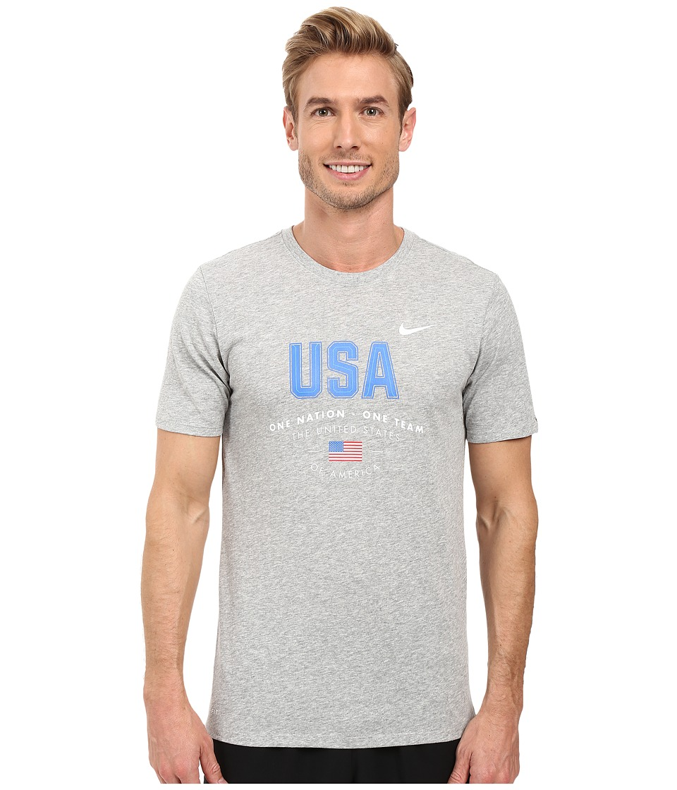 Nike - USA Verbiage Tee (Dark Grey Heather) Men's Clothing