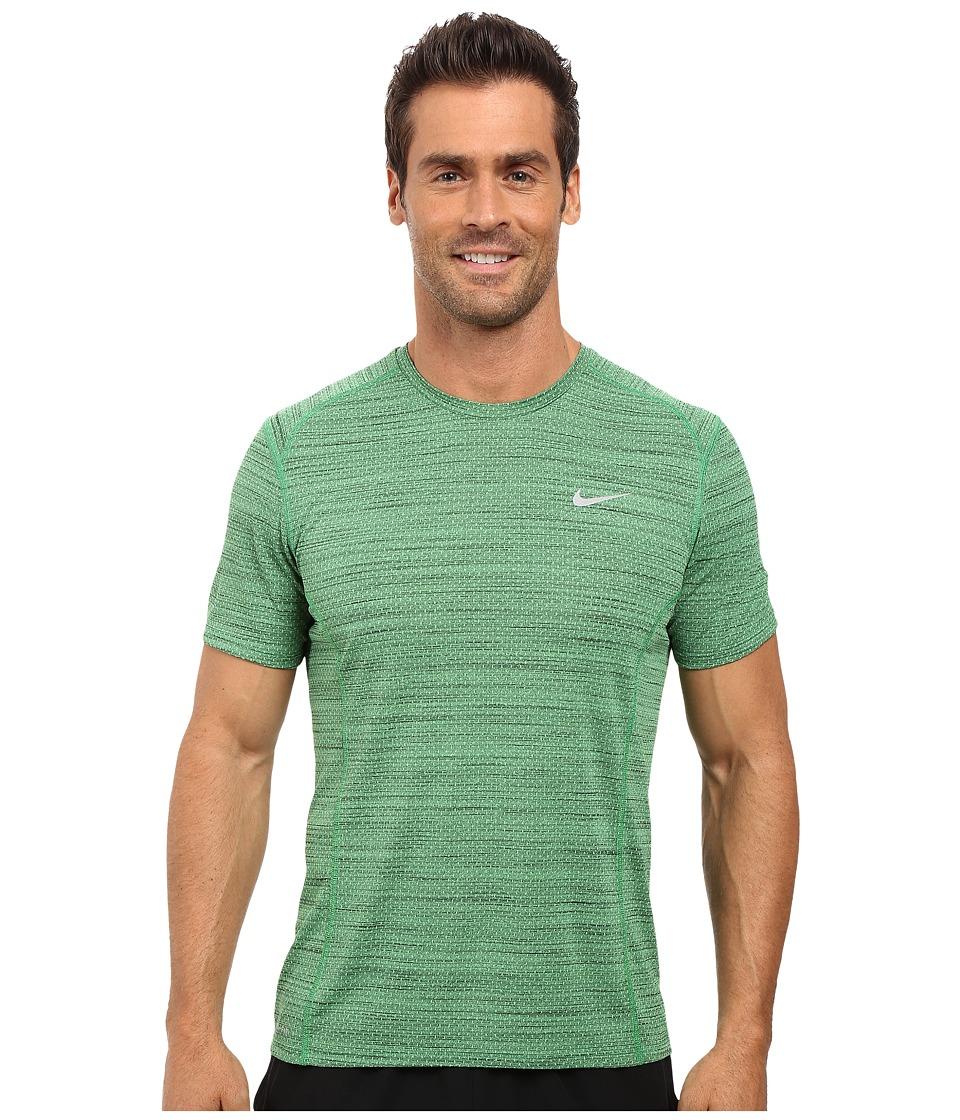 Nike - Dry Miler Short Sleeve Running Top (Light Green Spark/Black/Reflective Silver) Men's T Shirt