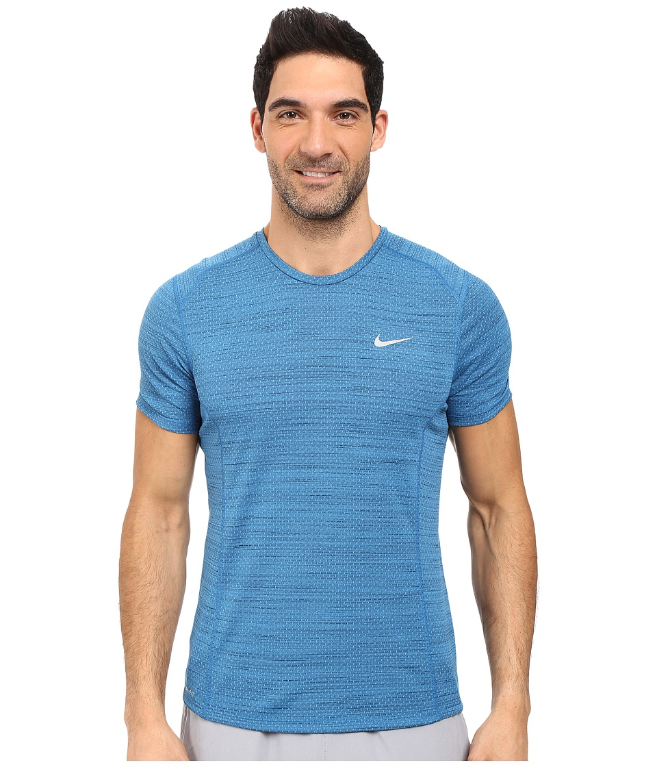 Nike Dry Miler Short Sleeve Running Top (Light Photo Blue/Black/Reflective Silver) Men