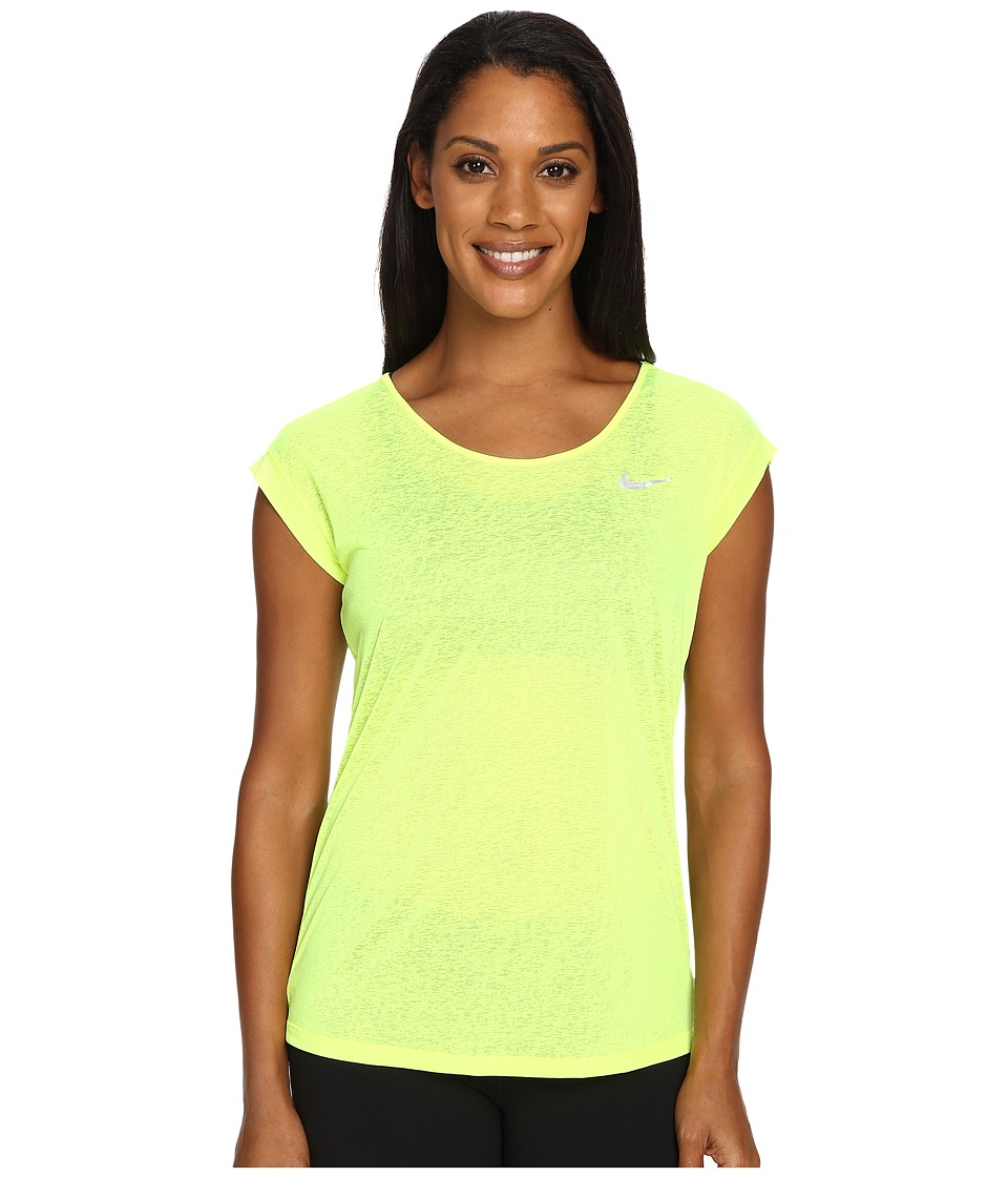 Nike - Dri-FIT Cool Breeze Running Top (Volt/Reflective Silver) Women's Short Sleeve Pullover