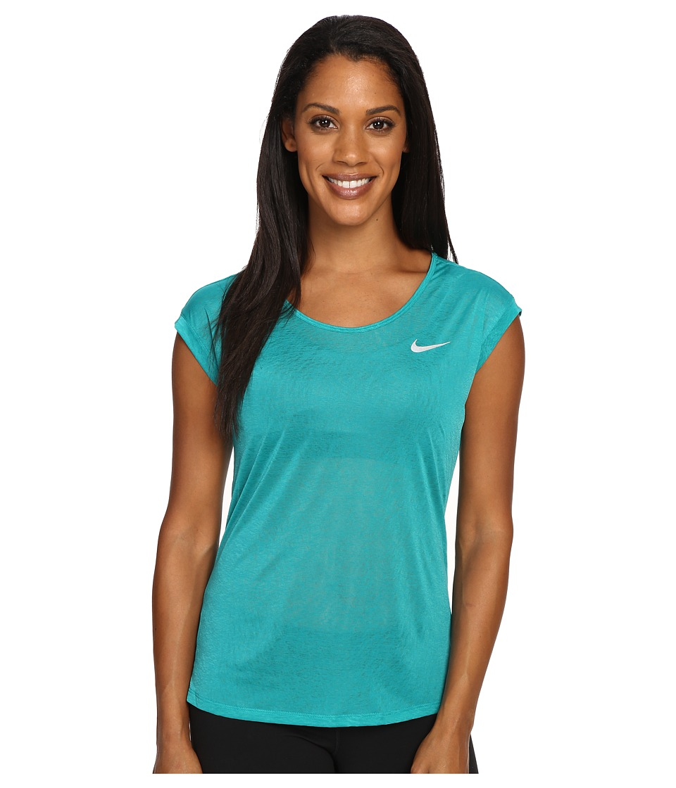 Nike - Dri-FIT Cool Breeze Running Top (Rio Teal/Reflective Silver) Women's Short Sleeve Pullover