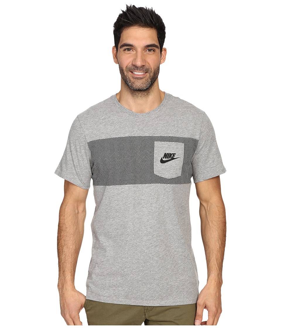 Nike - Cortez Pattern Pocket Tee (Dark Grey Heather/Dark Grey Heather/Black) Men's Clothing