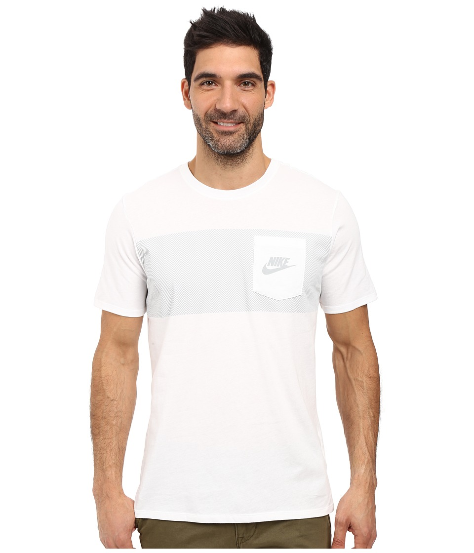 Nike - Cortez Pattern Pocket Tee (White/White/Wolf Grey) Men's Clothing