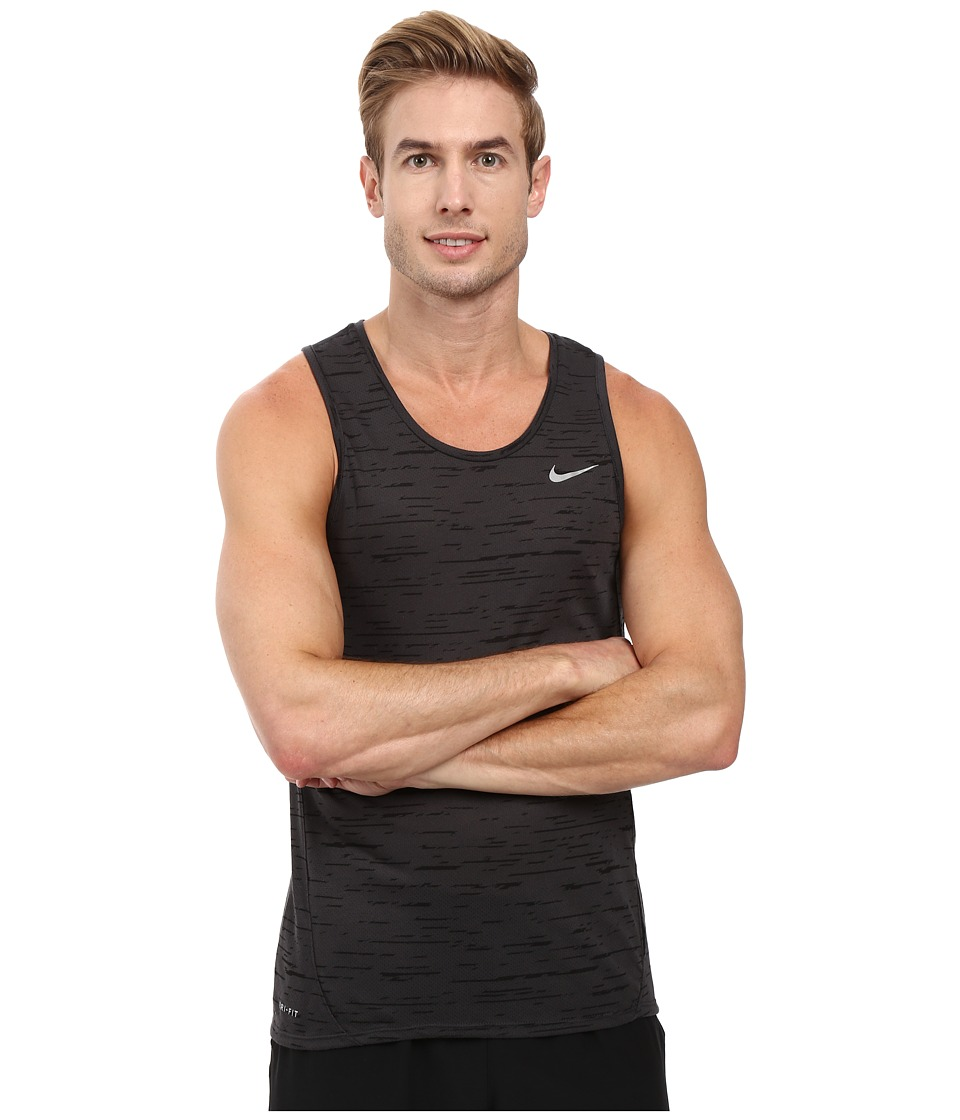Nike - Dry Tailwind Print Running Tank Top (Black/Anthracite/Reflective Silver) Men's Sleeveless