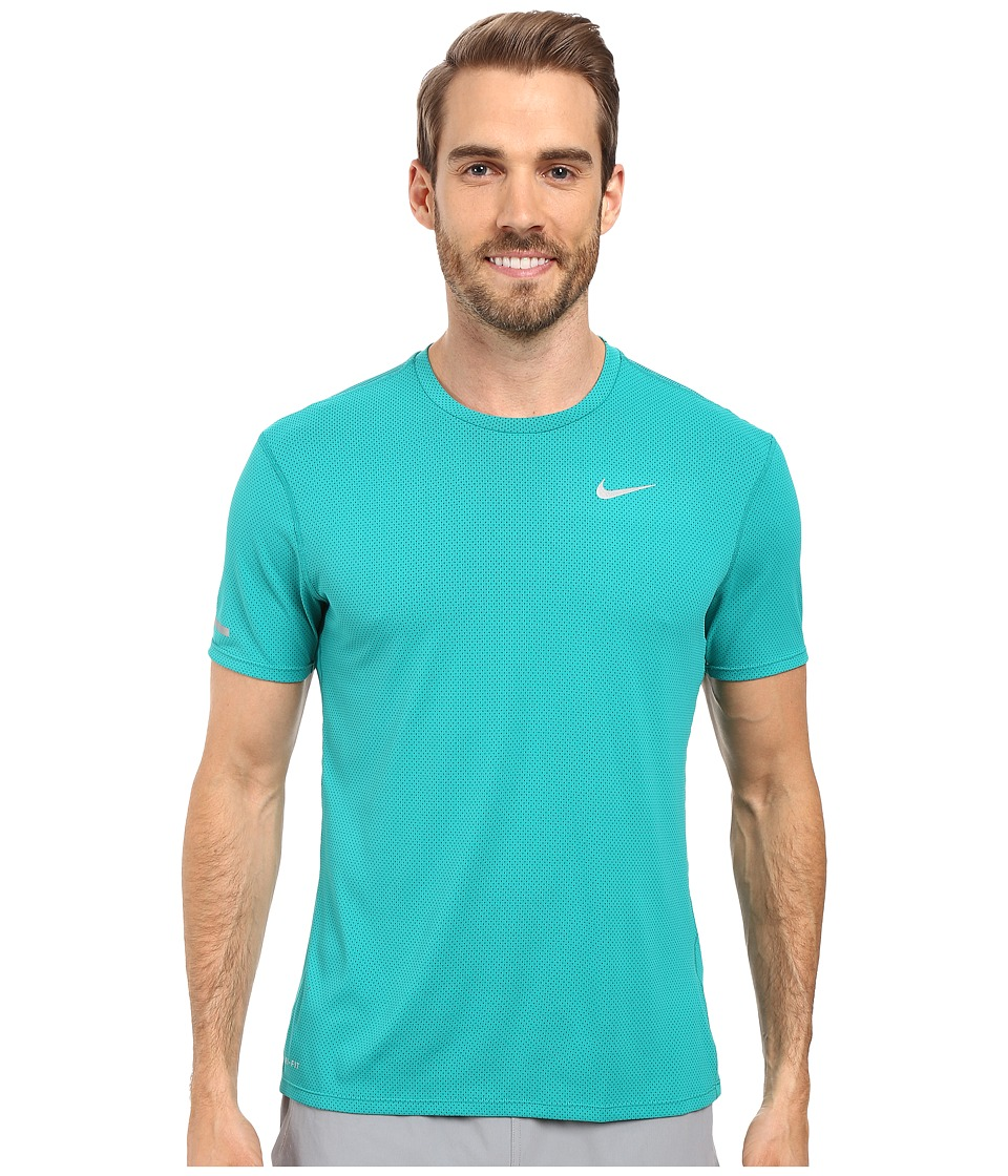 Nike - Dri-FIT Contour S/S Running Shirt (Teal Charge/Reflective Silver) Men's T Shirt