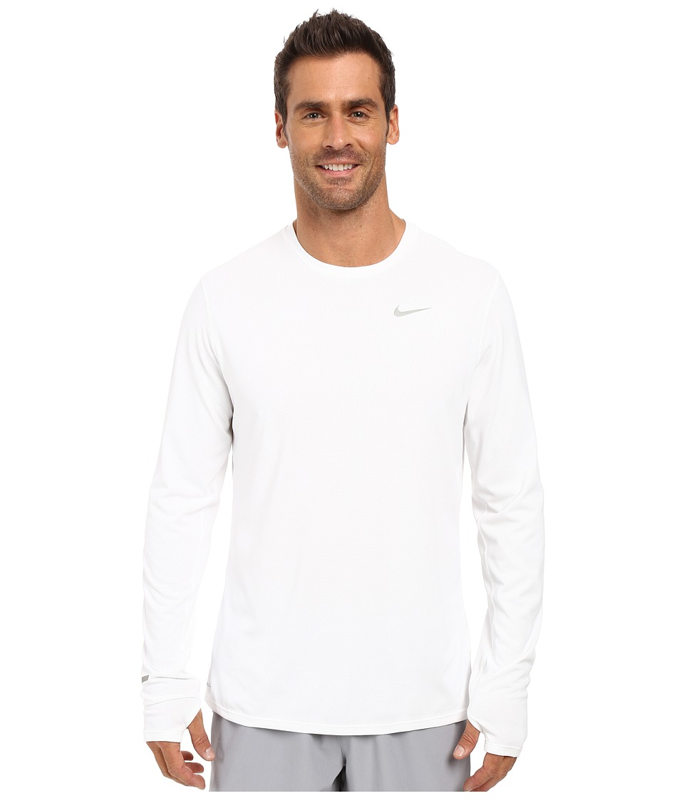 Nike - Dri-FIT Contour L/S Running Shirt (White/Reflective Silver) Men's T Shirt