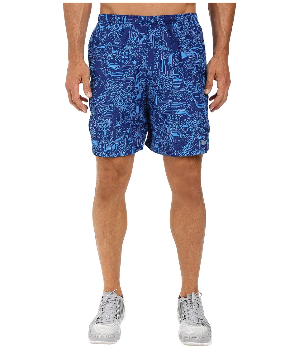 Nike - Dry Challenger 7 Printed Running Short (Deep Royal Blue/Reflective Silver) Men's Shorts