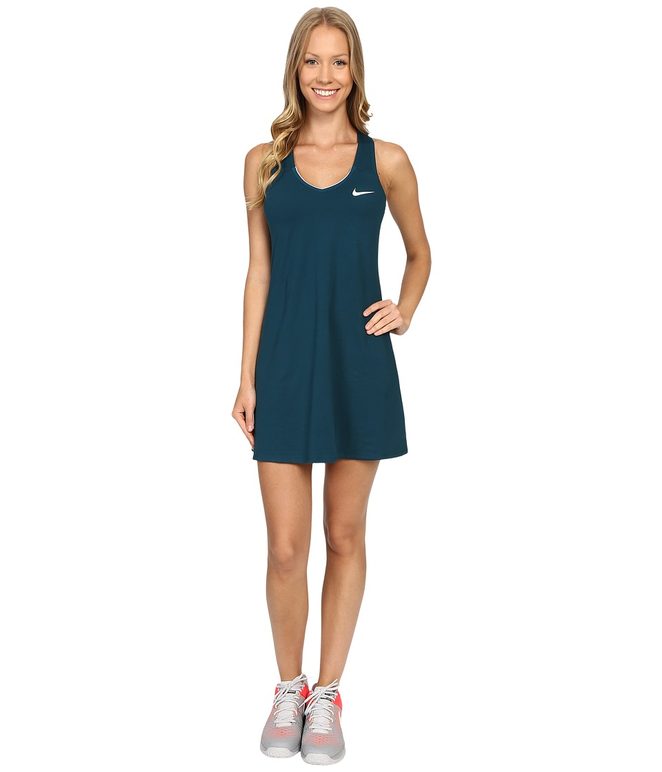 Nike Court Pure Tennis Dress (Midnight Turquoise/White) Women
