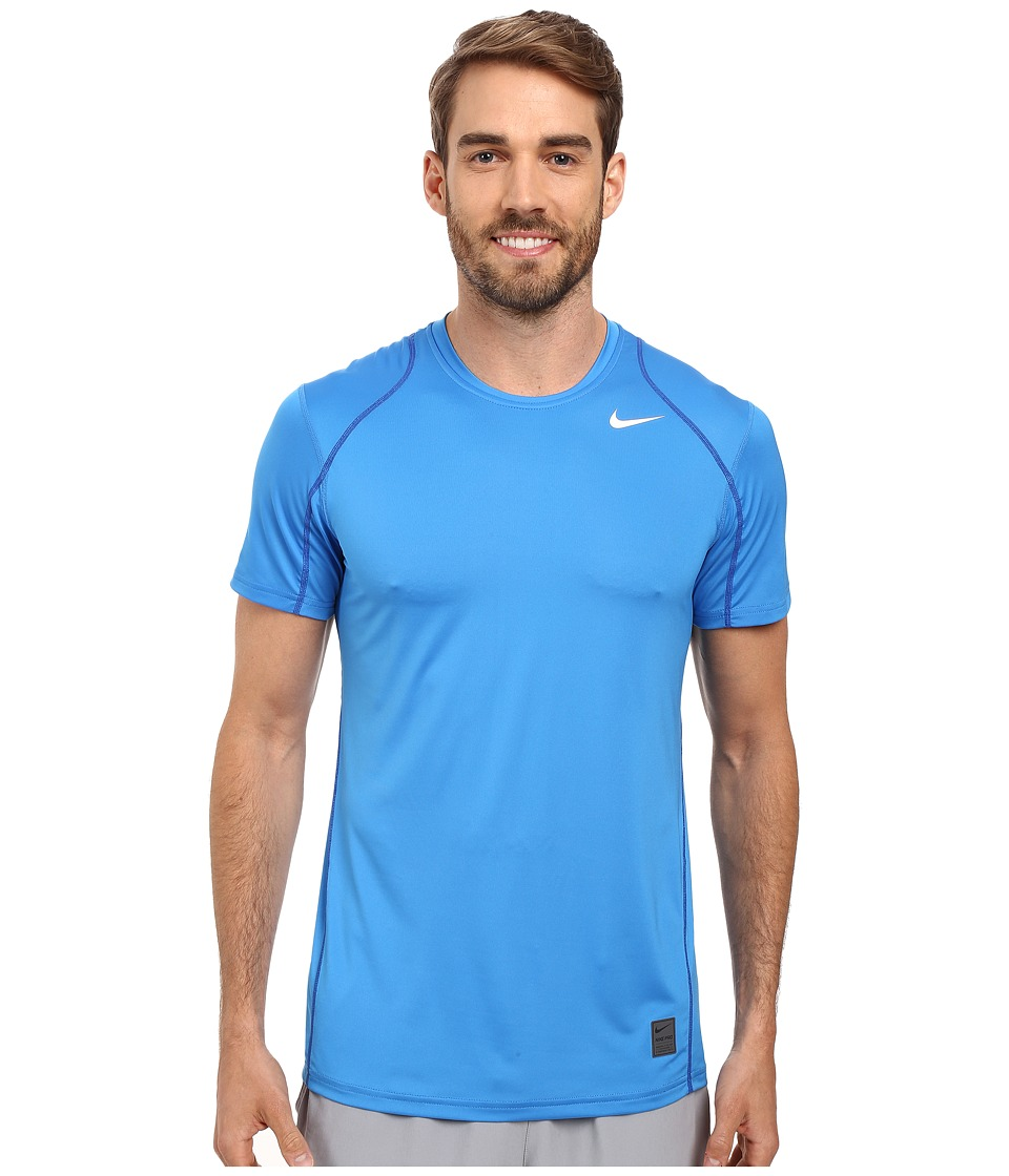 Nike - Pro Short Sleeve Training Top (Light Photo Blue/Game Royal/White) Men's Short Sleeve Pullover