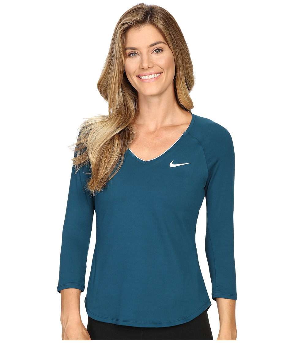 Nike - Court Pure Tennis Top (Midnight Turquoise/White/White) Women's Long Sleeve Pullover