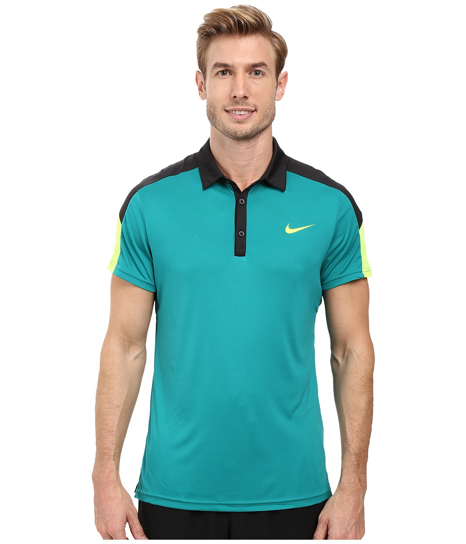 Nike - Team Court Polo (Rio Teal/Black/Volt/Volt) Men's Short Sleeve Pullover