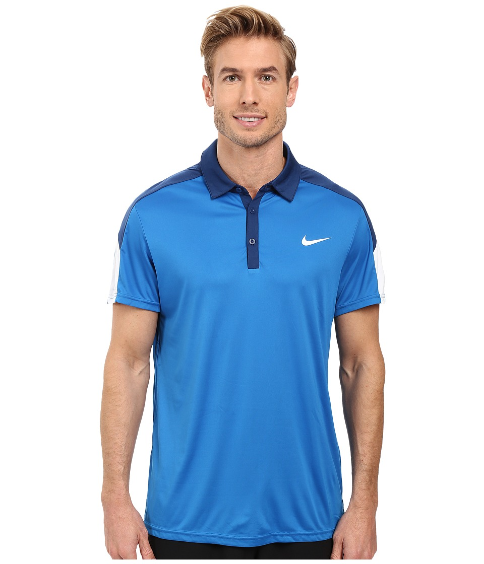 Nike - Team Court Polo (Blue Spark/Coastal Blue/White/White) Men's Short Sleeve Pullover