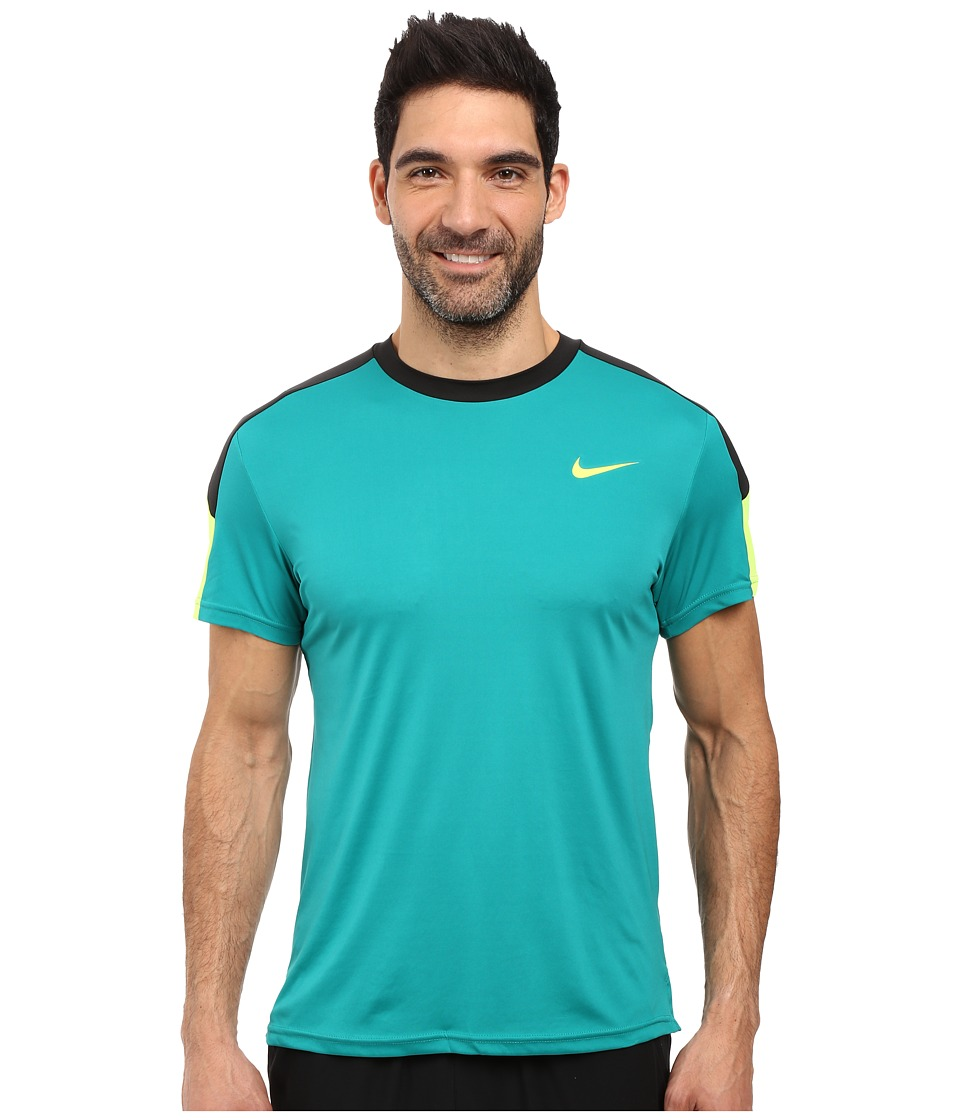 Nike - Court Tennis Shirt (Rio Teal/Black/Volt/Volt) Men's T Shirt