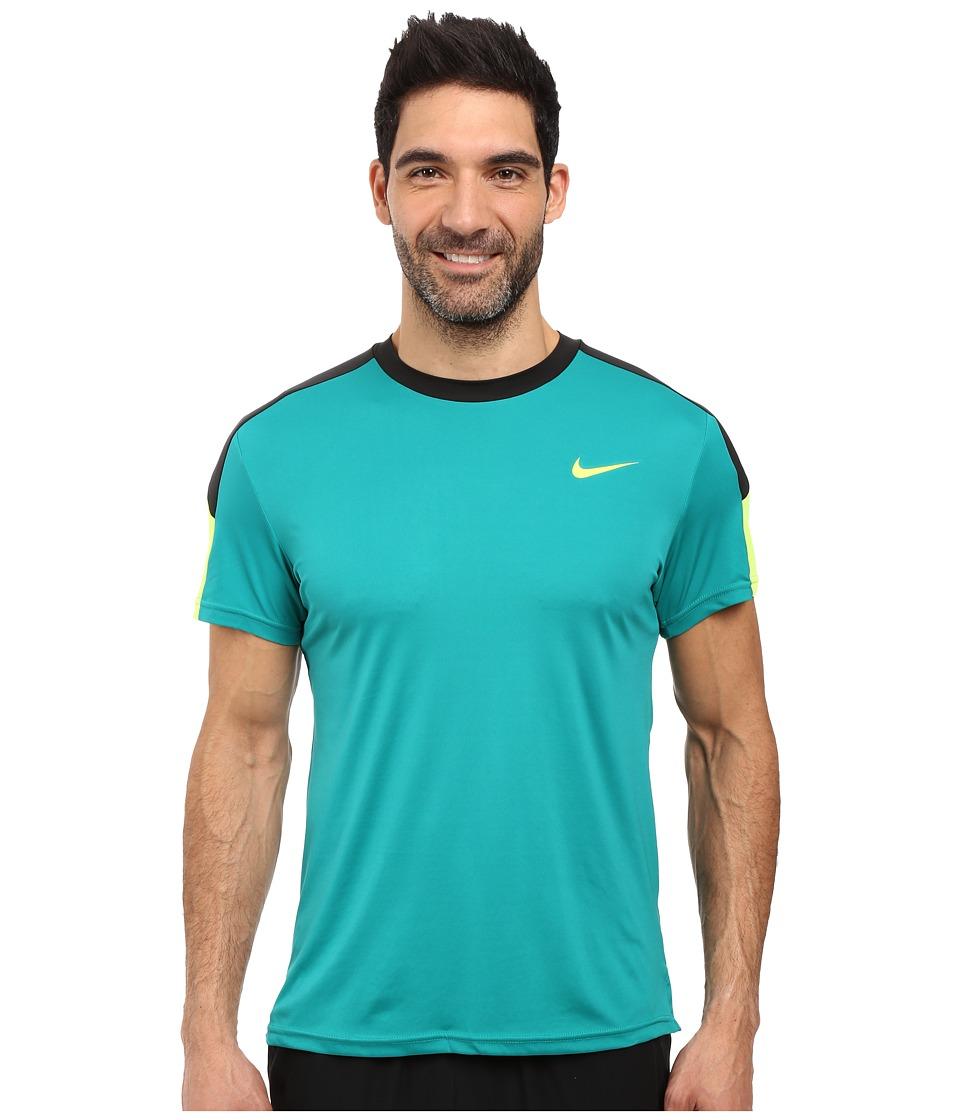 Nike - Court Tennis Shirt (Rio Teal/Black/Volt/Volt) Men's T Shirt