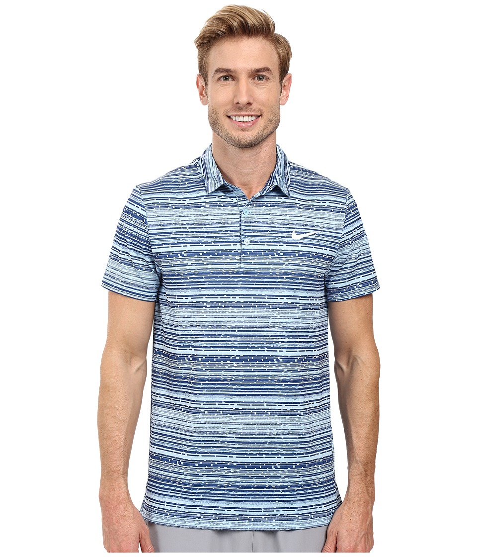 Nike - Polo Short Sleeve Sphere Striped (Bluecap/White) Men's Clothing