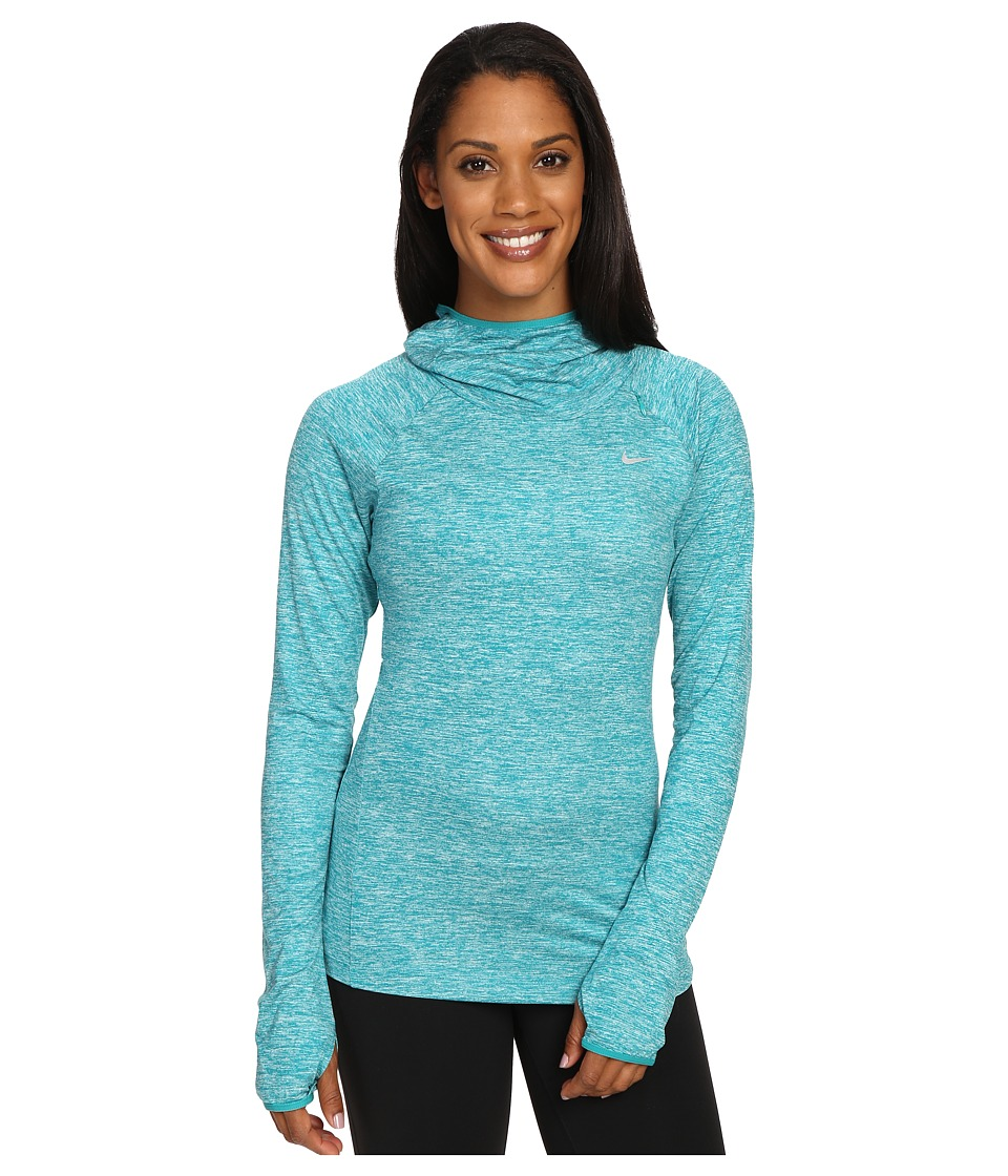 Nike - Dry Element Running Hoodie (Teal Charge/Heather/Reflective Silver) Women's Sweatshirt