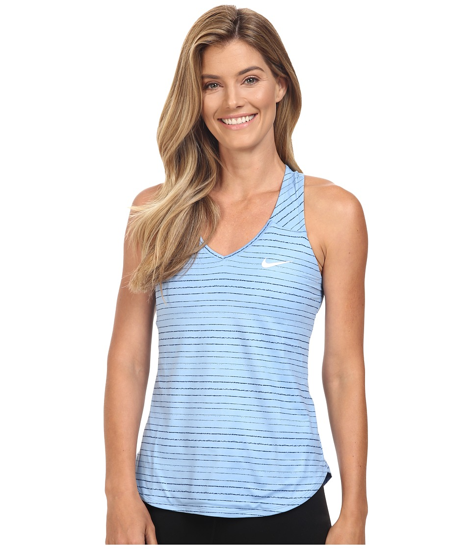 Nike - Dry Printed Pure Tank Top (Light Blue/White) Women's Sleeveless